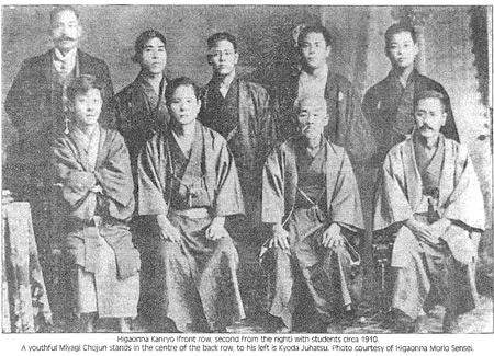 O Sensei Kanryo está na fila de baixo (segundo a contar da direita). No centro da fila de trás encontra-se o Sensei Chojun Miyagi.